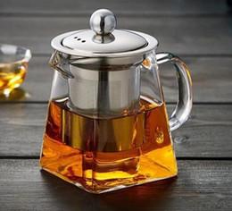 Bule de vidro de borosilicato claro com filtro de aço inoxidável filtro infusor resistente ao calor bule de chá de folhas soltas em Promoção