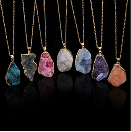 white rough crystal Australia - 2019 new natural rough crystal hole unpolished pendant necklace clavicle chain necklace chain sweater popular female