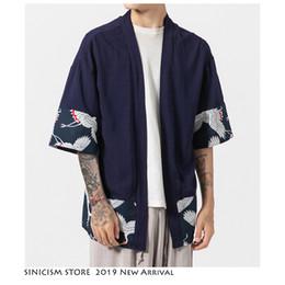 Clothe Opening Australia - Sinicism Store Men Sun Protection Clothing Jacket Open Stitch Cotton Linen Clothes Streewear Male Print Jackets Mens 2019 Summer