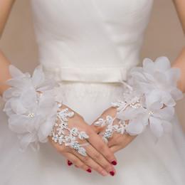 $enCountryForm.capitalKeyWord Australia - 2019 new Bridal Wedding Gloves Fingerless Sticky Diamond Large Flower Piece Long Lace White Gloves