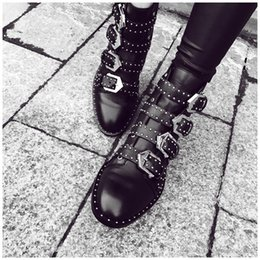 Booties heels for women online shopping - Susanna Studded Buckle Ankle Boots With Metal Decoration Cool Motorcycle Boots Leather Rain Booties For Women