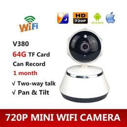 Wholesale V380 Phone APP HD P Mini IP Camera Wifi Camera Wireless P2P Security Night Vision IR Robot Baby Monitor Support SD C