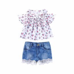 Girls 2t Suit Style Clothing Sets UK - retail kids outfits 2019 girls floral print top+elastic denim lace shorts two piece matching set suits baby tracksuit boutique clothing sets