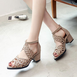 $enCountryForm.capitalKeyWord Australia - Ladies Gladiator Sandal Women Block Heel Shoes Womans Brand Luxury Open Toe Pumps Sexy Hollow Out Zip Sandale Mariage Shoes with Crystal