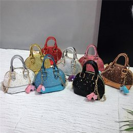 Wholesale 8styles Sequin Children Mini Shoulder Bags Girls Shinning Glitter Purse Toddler Kids Shell Sequin Bags with Chain tassel Handbags FFA1841