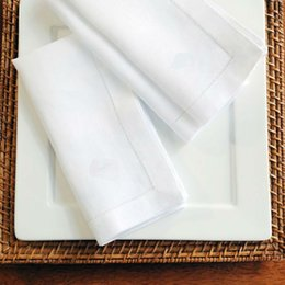 White Cotton Napkins Australia - White Hemstitched Napkins Cocktail Napkin For Party Wedding Table Cloth Linen Napkins Cotton 45x45cm And 30x50cm