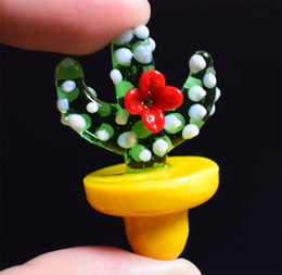 quartz nail oil dome Australia - Solid Colored Glass UFO Cactus Carb Cap dome 23mm OD for XL Flat Top Quartz Banger Nail Glass Bongs Water Pipes oil rigs