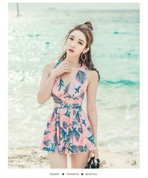 Large Size Suits Australia - One Piece DressStyle Conservative Cover Belly Slim Sexy Swimsuit Korea Large Size Hot Spring Bathing Suit