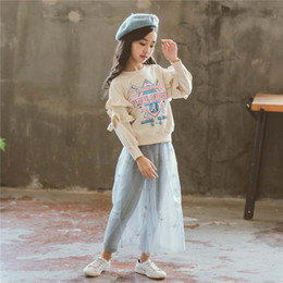 korean style girls top 2019 - Autumn Winter 2019 Fashion Korean Boutique Girls Outfits Sweet Girl Clothes lace Tops pullover+ pantskirt 2pcs Kids Sets
