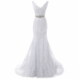 $enCountryForm.capitalKeyWord UK - Bridal Wedding Gown Real Photos White Lace Cheap Mermaid Wedding Dress Train 2018 Vintage Sash vestido De noiva 2018