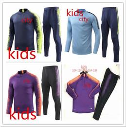 b2385fe11695e Traje de entrenamiento para hombre Man City kIDS 2018 ropa deportiva 18 19  niño DZEKO KUN AGUERO KOMPANY DE BRUYNE conjunto de traje de entrenamiento  ...