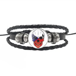 $enCountryForm.capitalKeyWord Australia - High Quality Czech Republic National Flag Fan Time Gem Glass Dome Skull Series Bracelets Diy Black Leather Rope Beaded Men Women Jewelry Hot