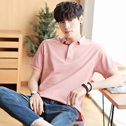 short fake collars Australia - BROWON Summer 2020 Casual Men T Shirt Fake Two Design Pink Short Sleeve Turn-down Collar Solid Silm Fit T Shirt Men Tops CY200514