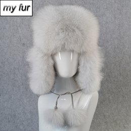 a57391770f7a5c 2019 Winter Women Real Fox Fur Bomber Hat Natural Raccoon Fox Fur Ushanka  Hats Thick Warm Outdoor Real Leather Cap