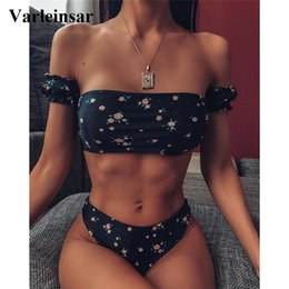 pink body suits Australia - 2020 Floral Off Shoulder Bikini Female Swimsuit Women Swimwear Two-pieces Bikini set Mid Waist Bather Bathing Suit Swim V1671