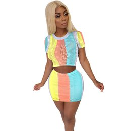 Wholesale beach outfits women for sale – designer Color Striped Piece Set Women Summer Short Sleeve Crop Top and Mini Skirt Sexy Beach Wear Club Outfits Two Piece Matching Sets