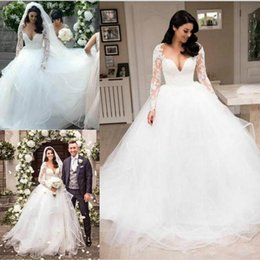 robe sizes chart NZ - Vintage Lace Long Sleeve Wedding Dresses Sheer Applique Puffy Tulle A-Line Arabic Plus Size Ball Bride Marriage robe de mariée Bridal Gown