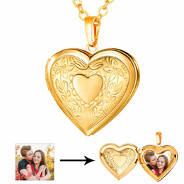 photo locket man NZ - floating heart Heart Floating Photo Memory Locket Necklace Women Gold Color Fashion Men Jewelry Vintage Necklaces & Pendants P197