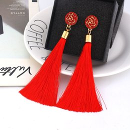 $enCountryForm.capitalKeyWord Australia - 9 colors Boho Ethnic Tassel Dangle Earrings For women Geometric Crystal Rose flower Sign Long Silk Fringed Dangle Statement Earring Jewelry