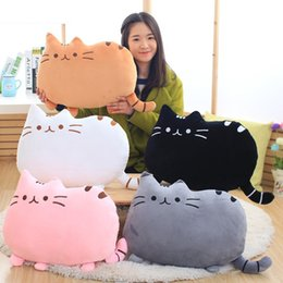 kawaii cushion 2019 - Kawaii Cats Plush Cushion Cute Animal Catty Plush Toy Dolls for Kids Home Decor P7Ding cheap kawaii cushion