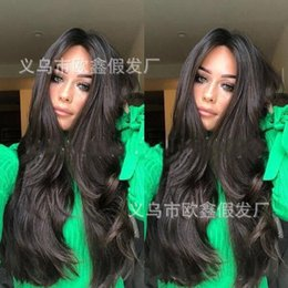 long hair wave style Canada - Wish Foreign Trade European and American-Style Fashion Wig High Temperature Wire Big Wave Black Long Curly Hair Womens Caps a Generation of