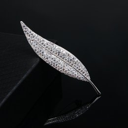 Wholesale Suits Party Australia - Elegant Silver Crystal Leaf Brooch Wedding Bridal Party Bouquet Brooch Suit Coat Collar Pins Woman Man Cloth Accessories