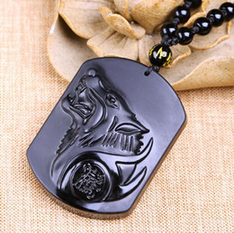 Necklaces Pendants Australia - Obsidian Wolf Head Necklace Pendant - Carved Stone Wolf Totems Lucky Amulet Beads Necklaces For Women Men Cool Jewelry