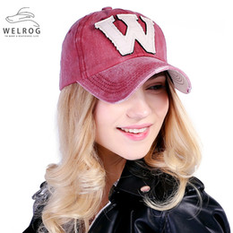 Discount baseball cap letter w - WELRIG 1PC Korean Style Washed Denim Snapback Caps Spring Summer Cotton Letter W New Men Women Baseball Cap Sunblock Hat