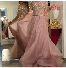 $enCountryForm.capitalKeyWord Australia - Evening dress Yousef aljasmi Labourjoisie Zuhair murad A-Line Jewel Long Sleeve Light Pink Tulle Crystal Sweep Train Long Dress James_paul8