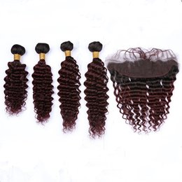 Discount burgundy wavy hair - Ombre Burgundy Deep Wave Indian Human Hair 13x4 Lace Frontal Closure with Weaves #1B 99J Wine Red Ombre Deep Wavy 4Bundl