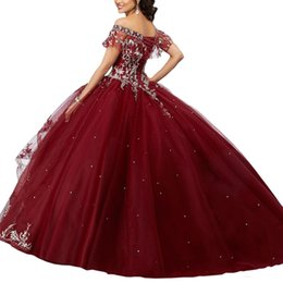 ebefaa9b212 2019 Burgundy Sweet 16 Quinceanera Dresses Long Cheap Ball Gown Prom Dress  Girls Off shoulder Sliver Embroidery Vestidos 15 anos