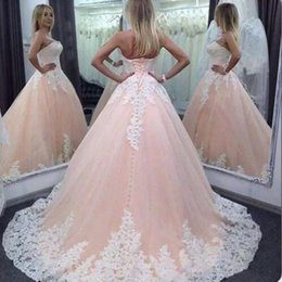 $enCountryForm.capitalKeyWord Australia - 2019 Vintage Pageant Ball Gown Dresses Sweetheart Pink White Lace Appliques Tulle Long Sweet 16 Cheap Plus Size Party Prom Evening Gowns