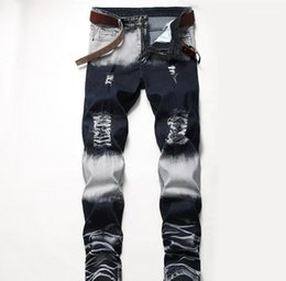Discount american apparel style Mid Waist Straight Mens Pants Fashion Male Apparel Mens Designer Jeans Distrressed Blue White Holes Stretch Regular