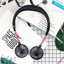 Vente en gros Hanging Neck Fan USB rechargeable Neckband Lazy cou mains libres Hanging double refroidissement mini ventilateur Sport 360 degrés de rotation
