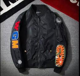 Wholesale bomb jacket resale online – MA1 Bomber Jacket Shark Print Men s Jacket Stand Collar Fashion Outwear Autumn Men Coat Bomb Couple Baseball Jackets