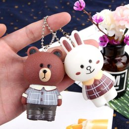 Small Solar Balls NZ - Keychains Bear keychain hanging female and female personality creative simple and lovely car key small pendant gift