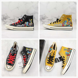 $enCountryForm.capitalKeyWord Australia - Sesame Street Covase Chuck 1970s Star X KAWS High OG Hand Painted Canvas Shoes Black Yellow Limited Designer Sports Casual Sneaker