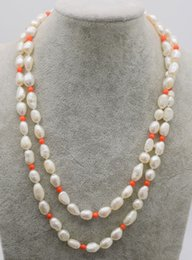 pink coral beaded necklace NZ - Hand knotted beautiful 8-10mm white fresh water cultured baroque pearl pink coral necklace 82 cm fashion jewelry