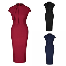 formal cocktail pencil dresses 2019 - 2019 New Office Dresses Women's Classic Vintage Tie Neck Formal Cocktail Dress with Pocket Blue Slim Waist Bussness