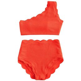 Wholesale two high waisted swimwear online – Women Solid Colors High Waisted Swimsuit Two Pieces Scalloped Trim One Shoulder Bikini Summer sexy Ladies Swimwear Beachwear