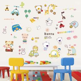 Cartoon Retail Australia - Retail 50*70cm cartoon animal paradise fresh wall decoration kindergarten wall stickers