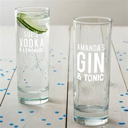 Glasses Machine Australia - wholesale custom premium machine blown wine glass highball glass clear etched logo gin tonic gin glasses
