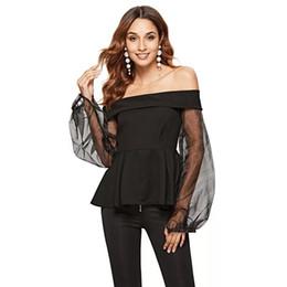 2c99fee9b736 Fashion Women's Sexy Off Shoulder Blouses Organza Sleeves Patchwork 2019  Summer Female Ruffles Shirts High Quality European Tops