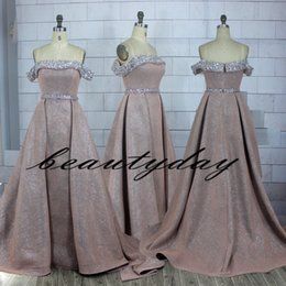 vintage apple fabric UK - Blush Prom Dresses 2019 Real Image Elegant A-line African Evening Party Gowns Off-Shoulder Celebrity Dresses Women Flash Fabric