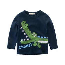 Baby Shirts Animal Patterns UK - 2019 Spring Autumn Boys T-shirt Kids Bottoming Shirt Printed animal pattern Children Sports t-shirt Baby Long Sleeve Tees 2-8T