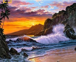 Sea Pole Australia - 40x50cm Self-made pictures by numbers modular Canvas Oil painting for the living room sea sunset Coloring by numbers hand-painted wall art