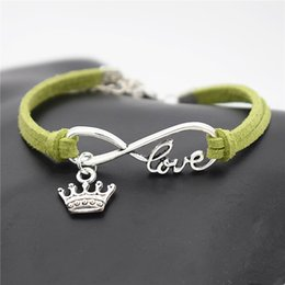 $enCountryForm.capitalKeyWord Australia - 2019 New Arrival Charm Vintage Infinity Love King Crown Pendant Charm Bracelet Handmade Green Leather Suede Bangles for men women lover gift