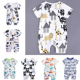 headband tutu rompers 2019 - INS Baby Onesies Summer Cotton Rompers YAY Letters Bear Boys Girls 0-24 Months Kids Clothes Knitted Cartoon Short-sleeve