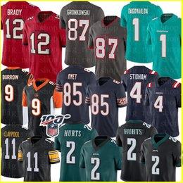 Wholesale 12 Tom Brady 87 Rob Gronkowski TampaBayBuccaneer Jersey 2 Jalen Hurts PhiladelphiaEagle Joe Burrow Cole Kmet Chase Claypool