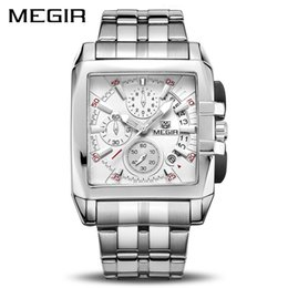 Original Big Watch Australia - Megir Original Luxury Men Watch Stainless Steel Mens Quartz Wrist Watches Business Big Dial Wristwatches Relogio Masculino 2018 Y19052001